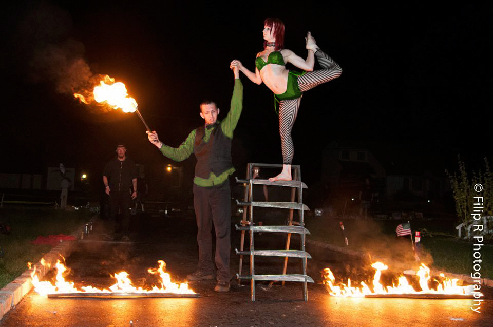 Massachusetts Saint Patrick's Day St. Paddy's Day Party Sideshow Performer Connecticut FreakShow Act Rhode Island Glass Walking New Hampshire Bed Of Nails Blockhead Machete Ladder Sword Ladder