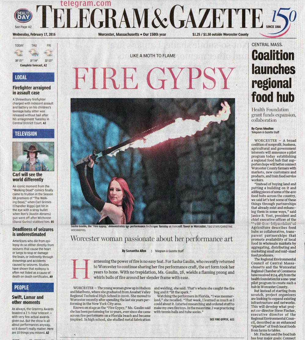 Fire Gypsy Telegram & Gazette Front Page News Fire Performer Newspaper