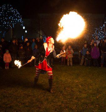 Taunton Lights On Festival Christmas Tree Lighting Fire Show @ Taunton Green