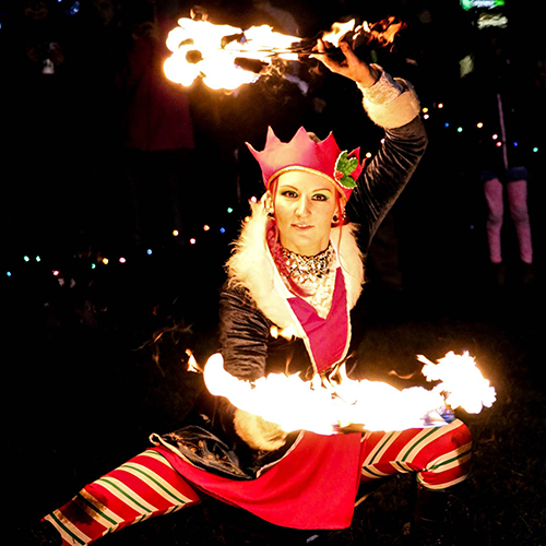 Christmas Elf Holiday Stroll Costume Tree Lighting Ceremony Fire Performer Fire Dancer Fire Fans Fire Eater Fire Breather Massachusetts Connecticut Rhode Island Fire Gypsy FireGypsy Sasha
