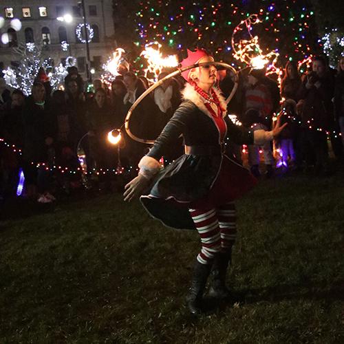 Christmas Tree Lighting Holiday Stroll Fire Show Fire Performer Fire Dancer Hula Hoop Hooper Hooping Elf Fire Gypsy Sasha Massachusetts Connecticut Rhode Island FireGypsy