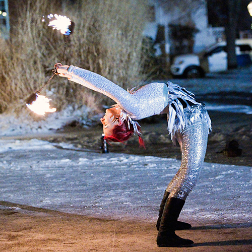 Fire Poi Dancer Fire Performer Winterfest Fire and Ice Snow Event Entertainment Massachusetts Connecitcut Rhode Island Fire Show FireGypsy