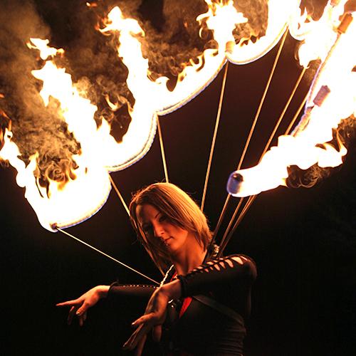 Massachusetts Halloween Fire Collar Fire Dancer Performer FireGypsy Spider Web Custom Props Connecticut Rhode Island