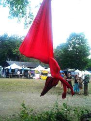 Aerial Hammock Sling Performer Circus Aerialist Morphsuit Festival Street Faire Massachusetts