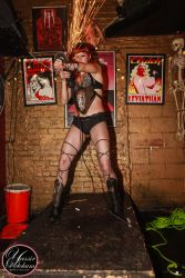 Angle Grinder Girl Act Shooting Sparks Crotch Sideshow Performer Show Arm Plates Steel Leg Bracers Boston Worcester MA 1