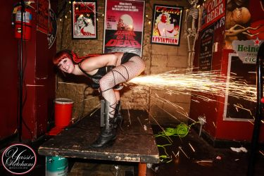 Angle Grinder Girl Act Shooting Sparks Crotch Sideshow Performer Show Boston Worcester Massachusetts Fire Gypsy 1