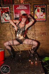 Angle Grinder Girl Act Shooting Sparks Crotch Sideshow Performer Show Fire Gypsy Rhode Island 1