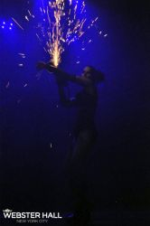 Angle Grinder Girl Act Shooting Sparks Crotch Sideshow Performer Show Plates Chest Steel Sasha FireGypsy Webster Hall CT Nightclub