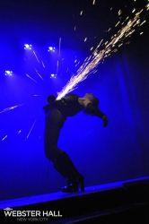Angle Grinder Girl Act Shooting Sparks Crotch Sideshow Performer Show Plates Chest Steel Sasha FireGypsy Webster Hall RI Nightclub