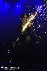 Angle Grinder Girl Act Shooting Sparks Crotch Sideshow Performer Show Plates Chest Steel Sasha FireGypsy Webster Hall VT Nightclub
