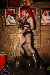 Angle Grinder Girl Act Shooting Sparks Crotch Sideshow Performer Show Steel Plates Metal Grinding Dancer Sasha FireGypsy 1