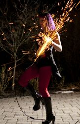 Connecticut Halloween Angle Grinder Girl Act Shooting Sparks Crotch Sideshow Performer Show Steel Plates Metal Grinding Circus FireGypsy 1