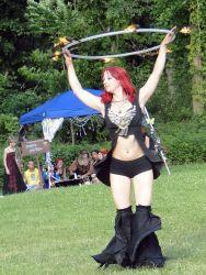 Fire Hula Hoop Dancer Fire Performer Circus Outside Event Massachusetts