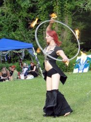 Fire Hula Hoop Dancer Fire Performer Circus Show Street Fair Faire Massachusetts
