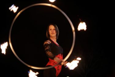 Fire Hula Hoop Dancer Fire Performer Halloween Salem MA
