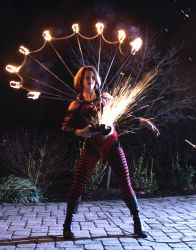 Halloween Albany NY Sexy Nightclub Bar Angle Grinder Girl Act Shooting Sparks Crotch Sideshow Performer Show Steel Plates Metal Grinding 1