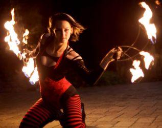 Halloween Fire Fans Dancer Fire Performer Show Salem Haunted Massachusetts