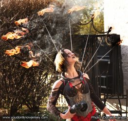 Halloween Spooky World Angle Grinder Girl Act Shooting Sparks Crotch Sideshow Performer Show Steel Plates Metal Grinding Fire Dancer