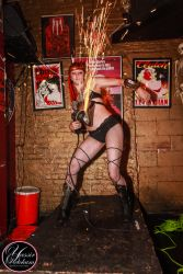 Hartford CT Angle Grinder Girl Act Shooting Sparks Crotch Sideshow Performer Show 1