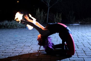 Massachusetts Fire Performer Poi Backbend Circus Fire Gypsy 1