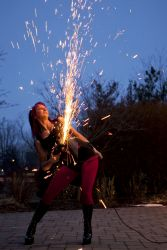 Massachusetts Halloween Angle Grinder Girl Act Shooting Sparks Crotch Sideshow Performer Show Steel Plates Metal Grinding Fire Dancer FireGypsy 1
