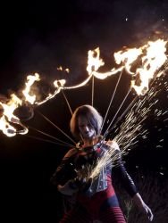 Massachusetts Halloween Spooky World Angle Grinder Girl Act Shooting Sparks Crotch Sideshow Performer Show Steel Plates Metal Grinding