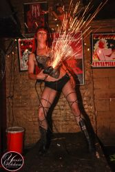 New Haven CT Angle Grinder Girl Act Shooting Sparks Crotch Sideshow Performer Show 1
