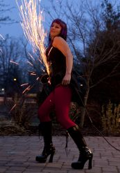 Rhode Island Halloween Angle Grinder Girl Act Shooting Sparks Crotch Sideshow Performer Show Steel Plates Metal Grinding Fire Dancer 1