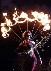Rhode Island Halloween Angle Grinder Girl Act Shooting Sparks Crotch Sideshow Performer Show Steel Plates Metal Grinding