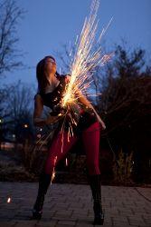 Sasha FireGypsy Sexy Nightclub Bar Angle Grinder Girl Act Shooting Sparks Crotch Sideshow Performer Show Steel Plates Metal Grinding Circus Oneonta NY 1