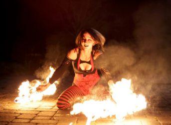 Spooky Halloween Fire Show Fire Fans Performance Massachusetts