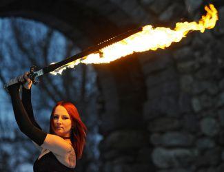 FireSword Fire Sword Massachusetts Fire Performer Fire Gypsy Sasha Telegram & Gazette Front Page News