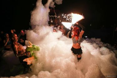 Foam Party Fire Performer Massachusetts Circus Artist Fire Dancer