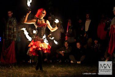 Hip Belt Palm Torches Fire Belly Dance Fire Performer Street Fair Faire Event Massachusetts