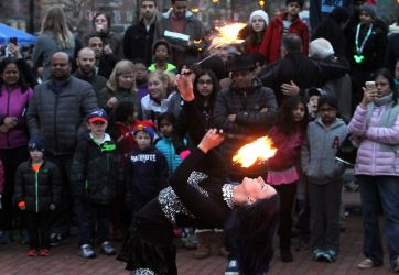 Lowell Point of Light Lantern Celebration Fire Show Fire Eater Fire Dancer Massachusetts