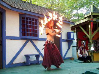 Medieval Renaissance Faire Fire Fans Performer King Richard's